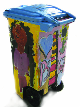 Painted organics bins
