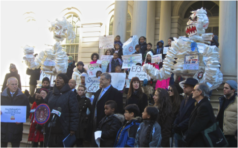 PS/IS 34 M 5th grade environmental advocates, participating at City Hall Rally